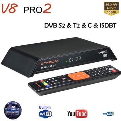 GT MEDIA V8 PRO2 Decodificador TDT Terrestre Receptor TV Satelite Digital DVB-S2 T2 Cable ISDBT