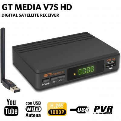 GTMEDIA V7S HD DVB-S2 Digital Receptor de TV por satélite Decodificador Freesat V7 HD Mejora con USB WiFi Antena FTA 1080P Full HD Soporte PVR