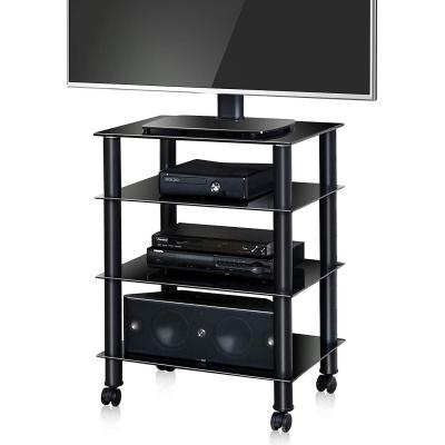 FITUEYES Soporte para Multimedia con 4 Estante Mueble HiFi con Ruedas Cristal AS406005GB