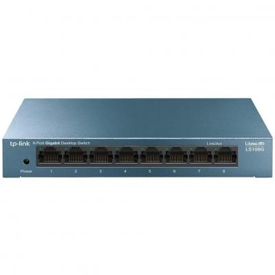 New, TP-Link Switch 8 Puertos 10 100 1000 (LS108G) Switch ethernet, Switch gigabit, Indicador del estado, chasis metálico ultraligero con Super disipación de calor, QoS